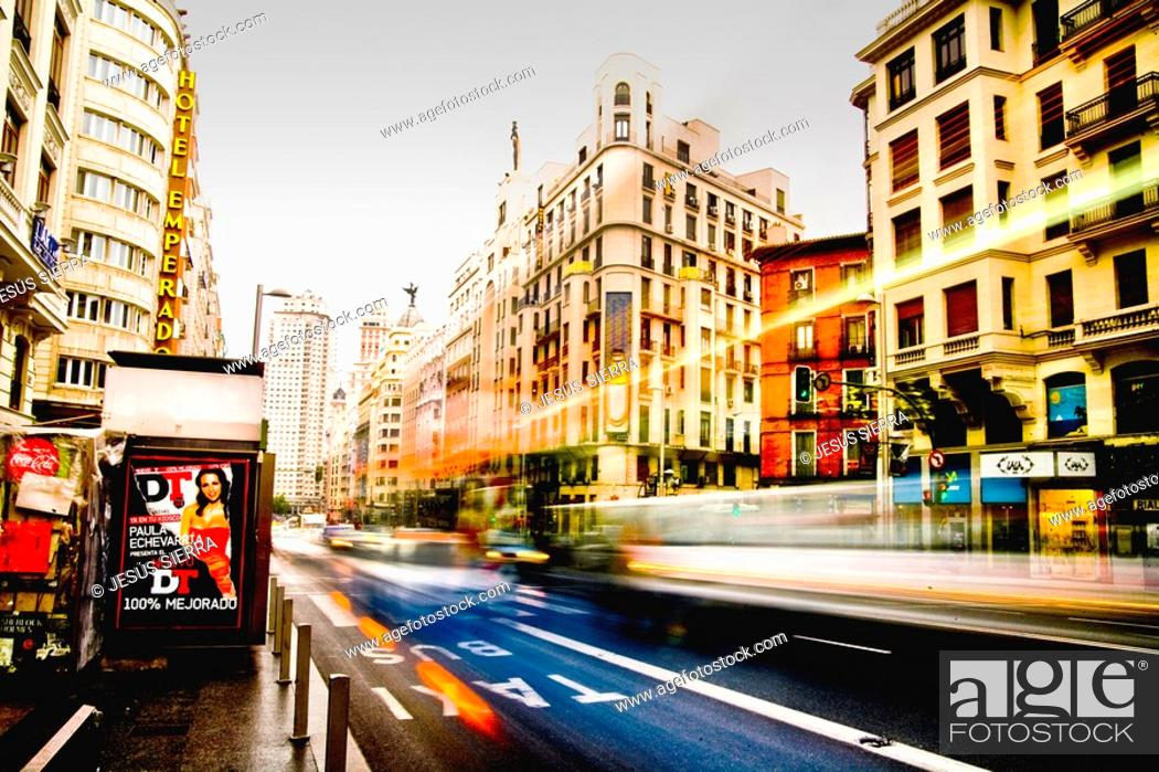 Stock Photo: Gran Via Madrid Spain.