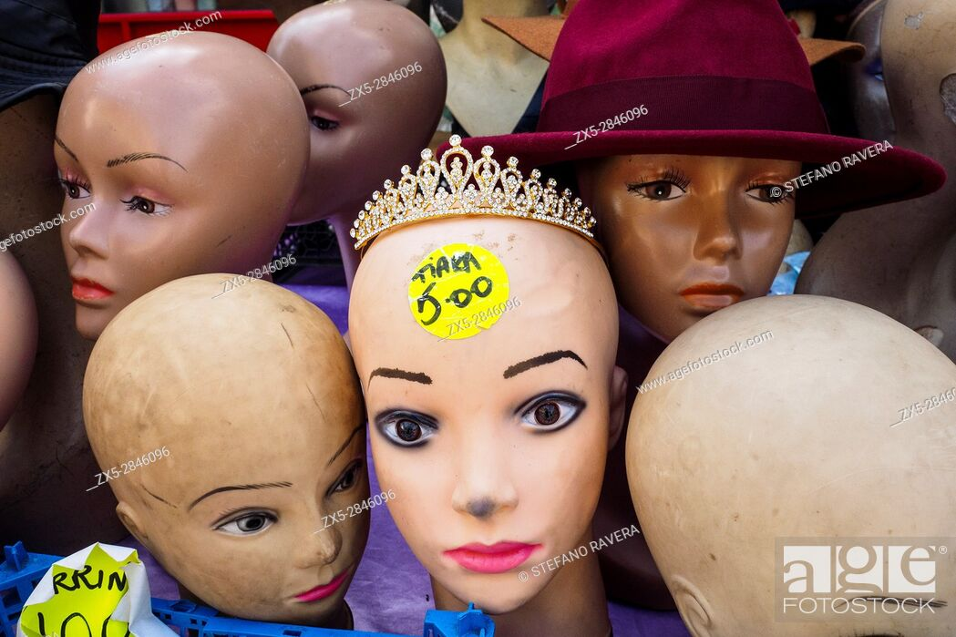 Stock Photo: Mannequin heads in the flea market of Deptford - London, England.