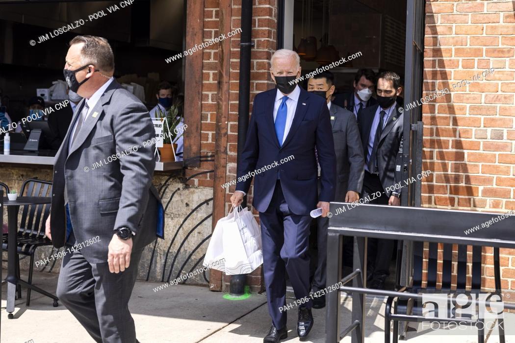 Stock Photo: United States President Joe Biden departs after picking up tacos during a visit to Las Gemelas Restaurant in Washington, DC, USA, 05 May 2021.