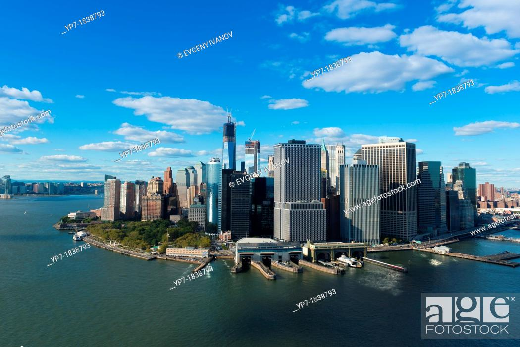 Stock Photo: South port, Battery park and Financial district of Manhattan aerial.