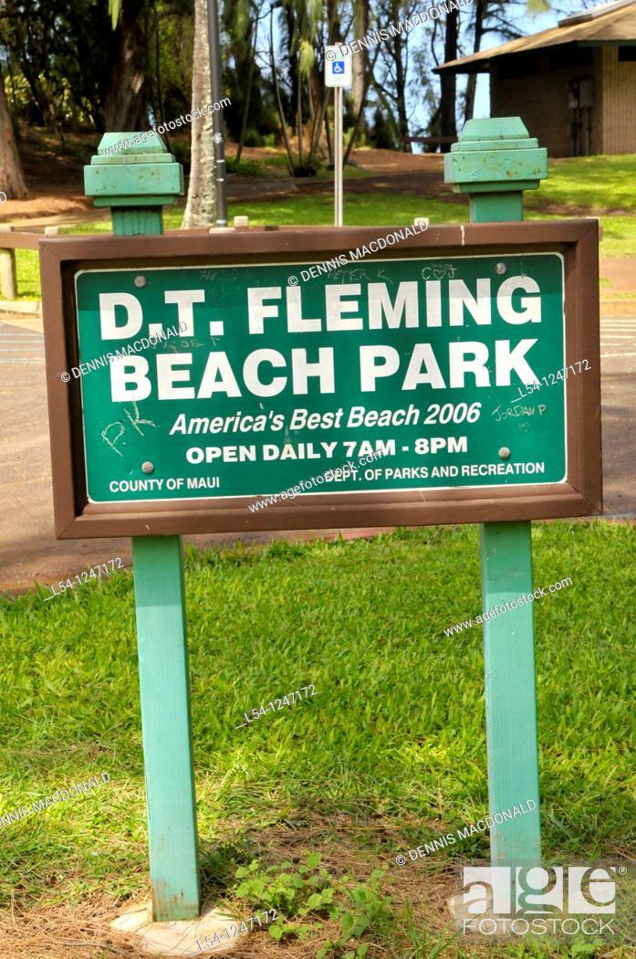 Stock Photo: D T Fleming Beach Park Maui Hawaii Pacific Ocean.