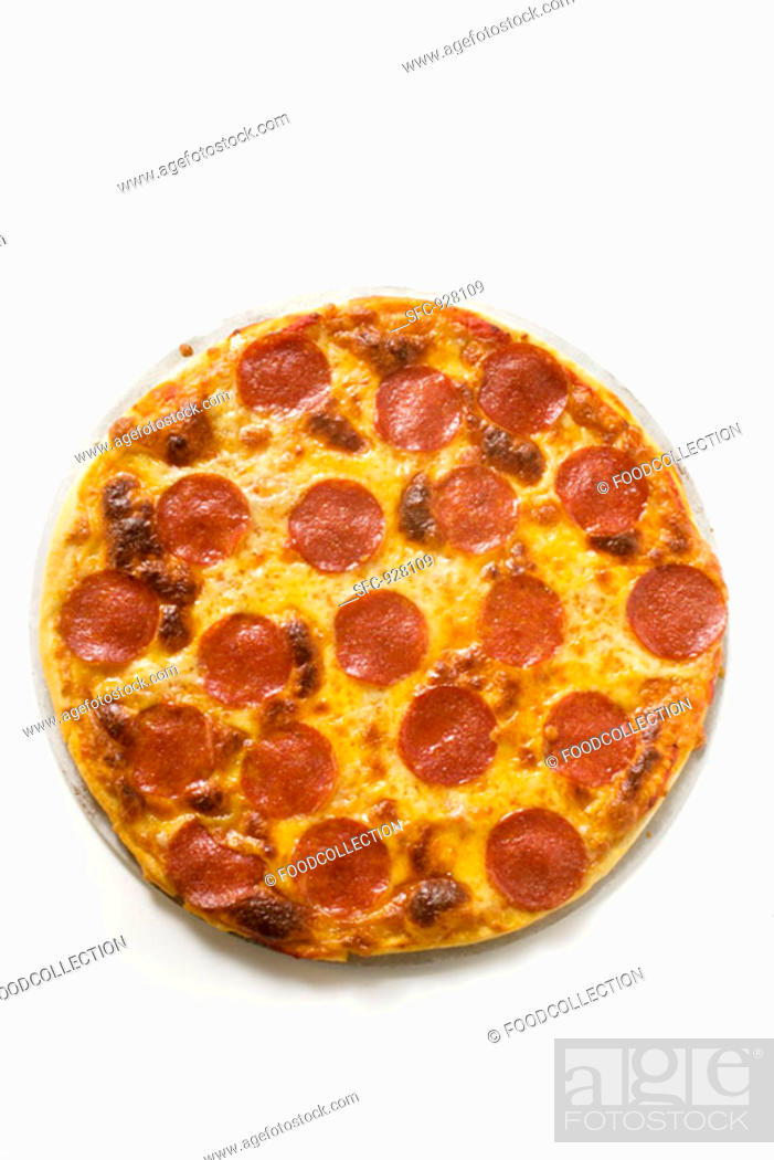 Stock Photo: Whole salami and cheese pizza.