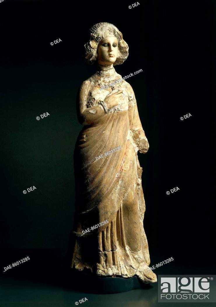 Stock Photo: Mesopotamia, Parthian Iranian art, I-II century AD female figure in limestone, marble and stucco. From Seleucia.  Bagdad.