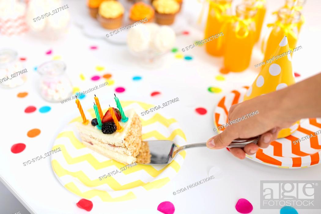 Amazing Hand Putting Piece Of Birthday Cake On Plate Stock Photo Picture Personalised Birthday Cards Petedlily Jamesorg
