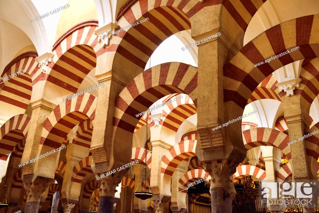 Stock Photo: High ceiling with double arches of white stone and red brick at the Prayer Hall of Cordoba Cathedral Mosque.