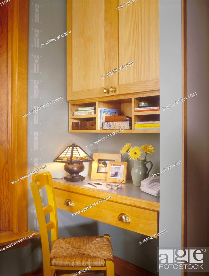 Kitchens Small Narrow Desk Area Simple Design Kitchen Cabinets Overhead Stock Photo Picture And Rights Managed Image Pic Shl Ljw1 2814 041 Agefotostock