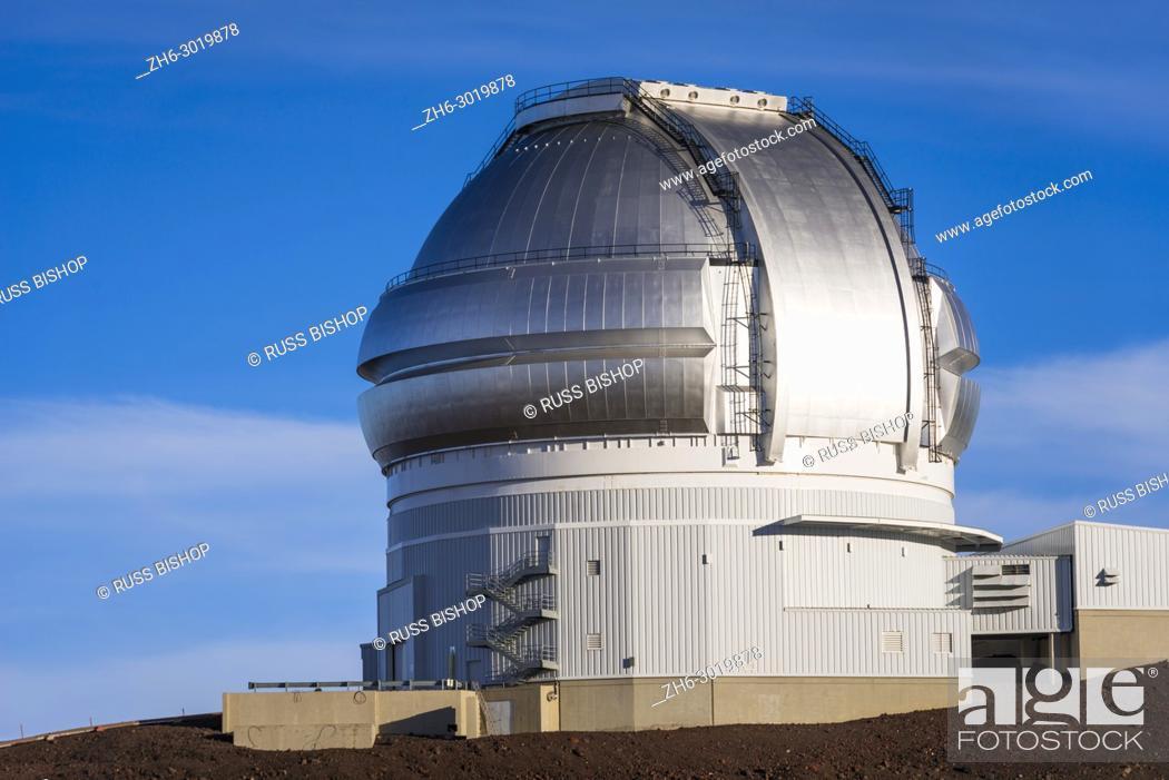 Stock Photo: Observatory on the summit on Mauna Kea, The Big Island, Hawaii USA.