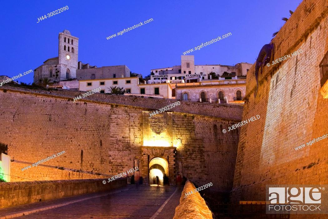 Stock Photo: Spain, Baleares island, Ibiza, Dalt vila fortress at night, Portal de ses Taules.