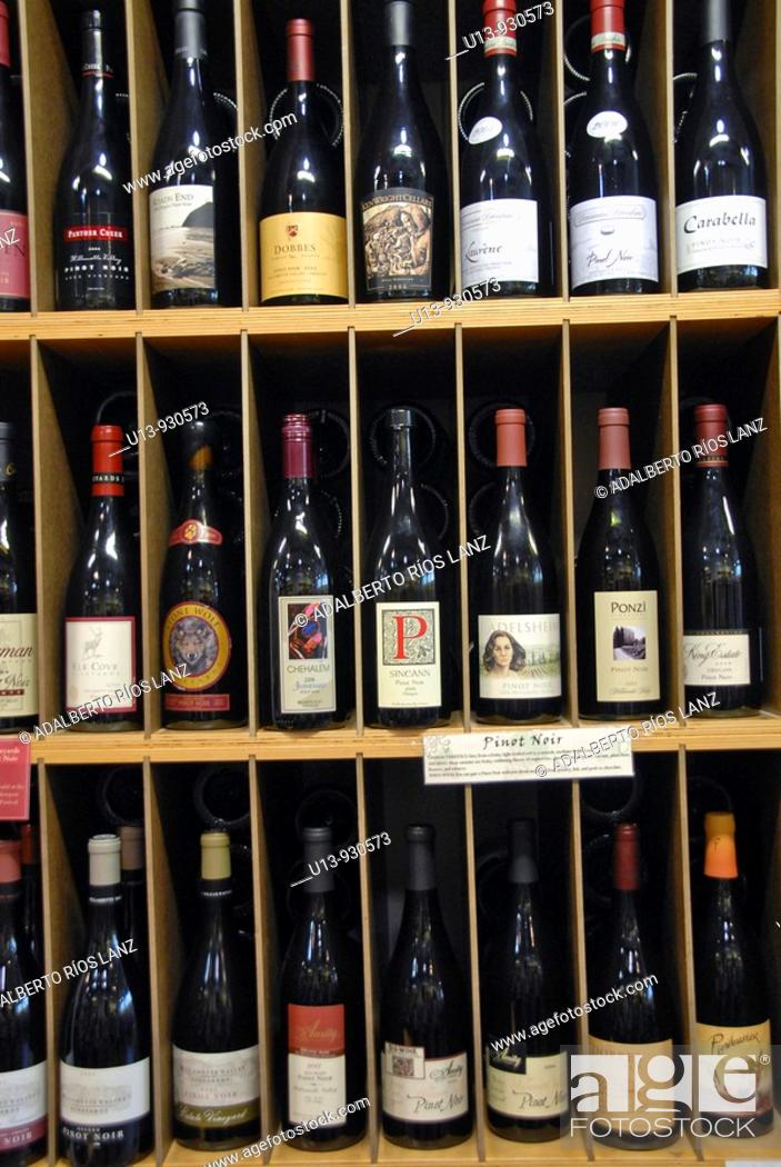 Stock Photo: Wine cellar at the Dundee Bistro, Forest Grove, Wine Country, Willamette Valley, Oregon, USA.