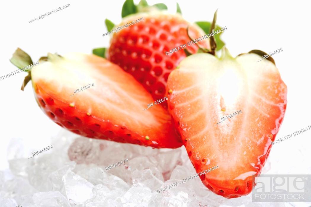 Stock Photo: Strawberries on ice cubes.
