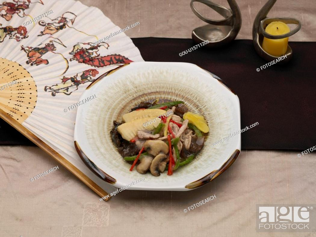 Stock Photo: food, decoration, table napkin, table mat, tableclothe, food styling.