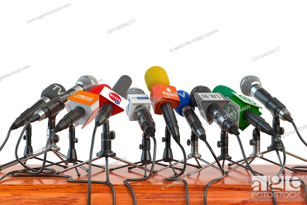 Imagen: Microphones of different mass media, radio, tv and press prepared for conference meeting. Press conference or interview concept. 3d illustration.