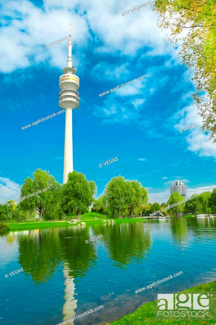 Stock Photo: View on Olympiapark with Olympic tower at Munich, Bavaria, Germany. Green park at city.