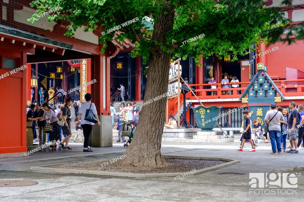 Stock Photo: At Asakusa Temple in Tokyo, Japan in summer 2019.