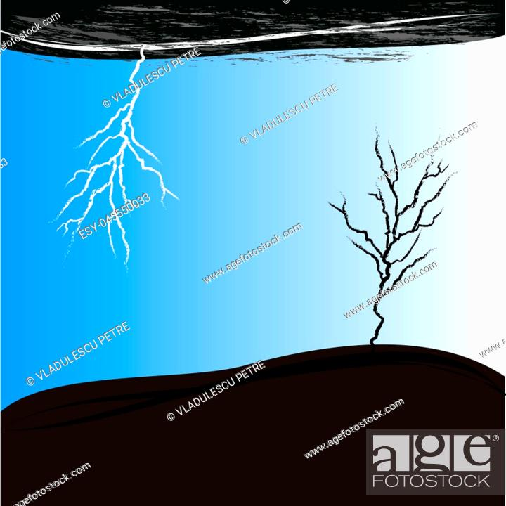 Stock Vector: dry tree in storm.