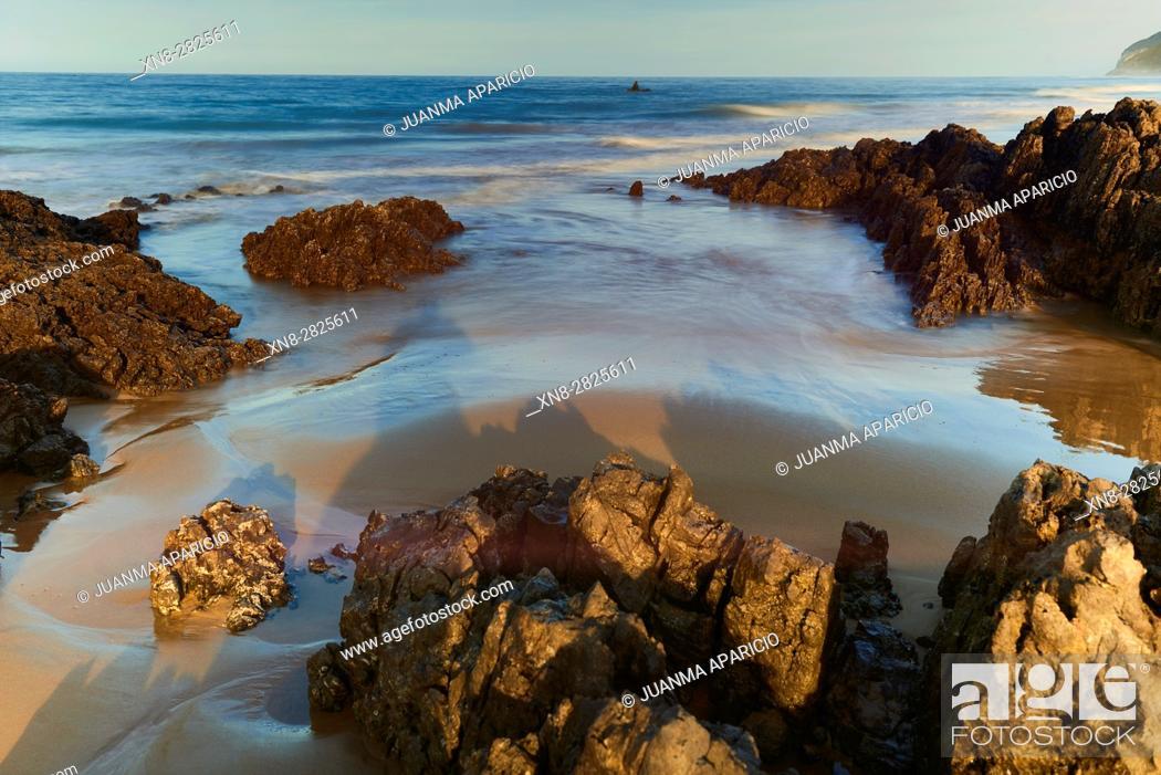 Stock Photo: Beach of Helgueras, Noja, Cantabria, Spain.