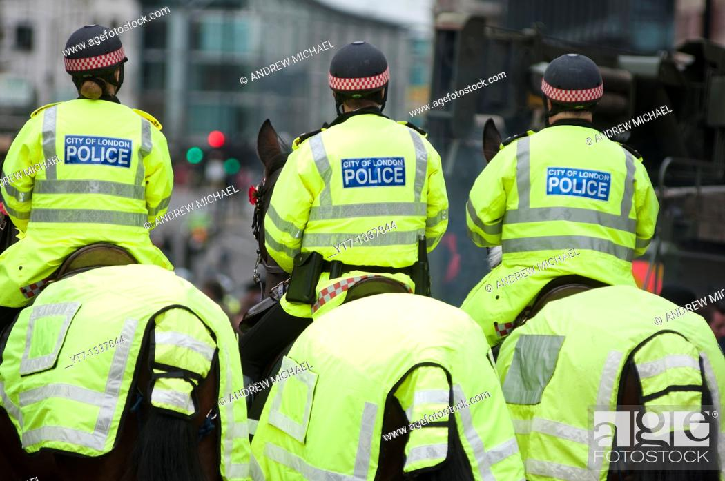 Stock Photo: Mounted police in London  UK.