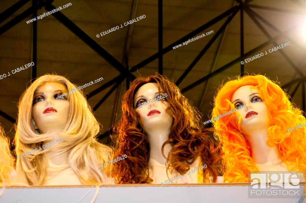 Stock Photo: Mannequins with colourful wigs.
