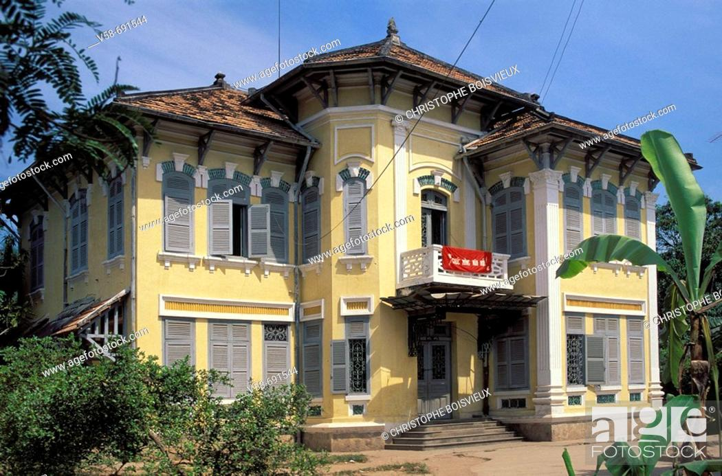 Stock Photo: The house of french writer marguerite duras, sa dec, Mekong delta, Vietnam.