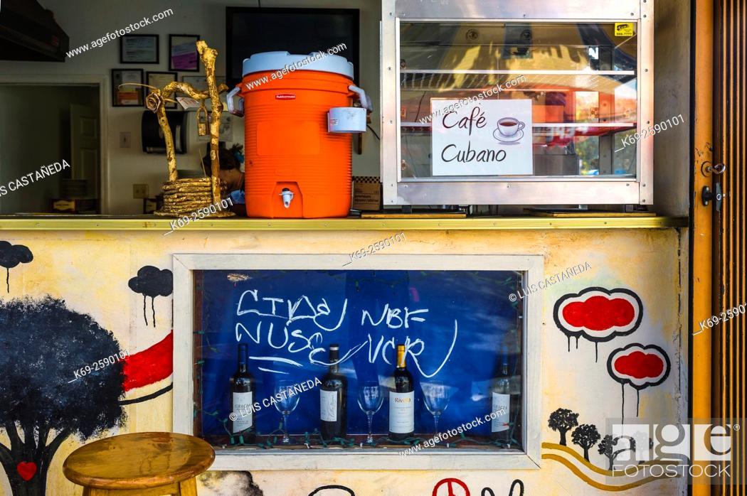 Stock Photo: Open air Café Store. Calle Ocho. Little Havana. Miami. Florida. USA.