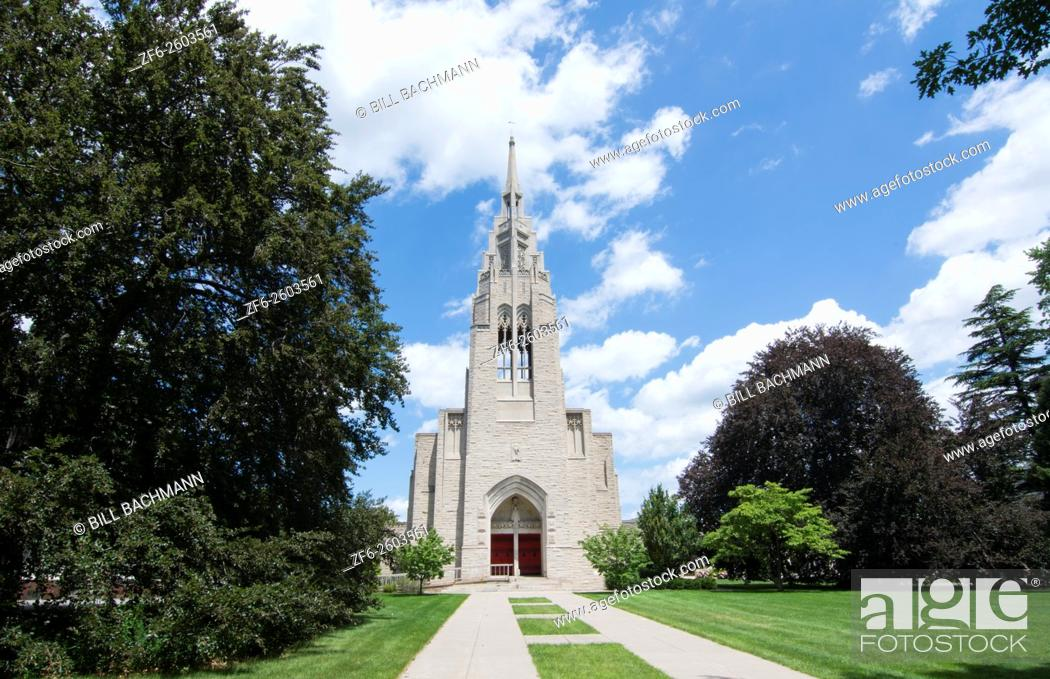 Stock Photo: Rochester New York NY downtown city beautiful church famous Asbury First United Methodist on East Avenue religion with red door.