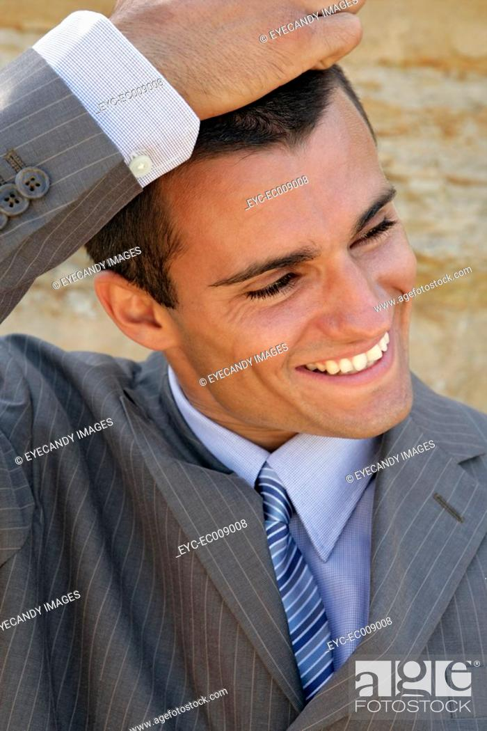 Stock Photo: Portrait of a man laughing.