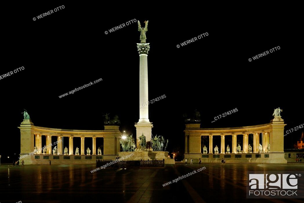 Stock Photo: Hungary, Central Hungary, Budapest, Danube, Capital City, Heroes Square, Millennium Monument by Albert Schickedanz and Gyoergy Zala, colonnade with statues.