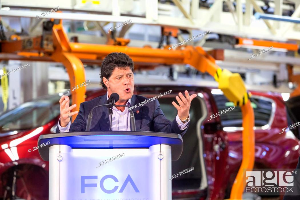 Stock Photo: Windsor, Ontario Canada - Jerry Dias, president of Unifor, the union which represents Canadian auto workers, speaks at Fiat Chrysler Automobiles' Windsor.