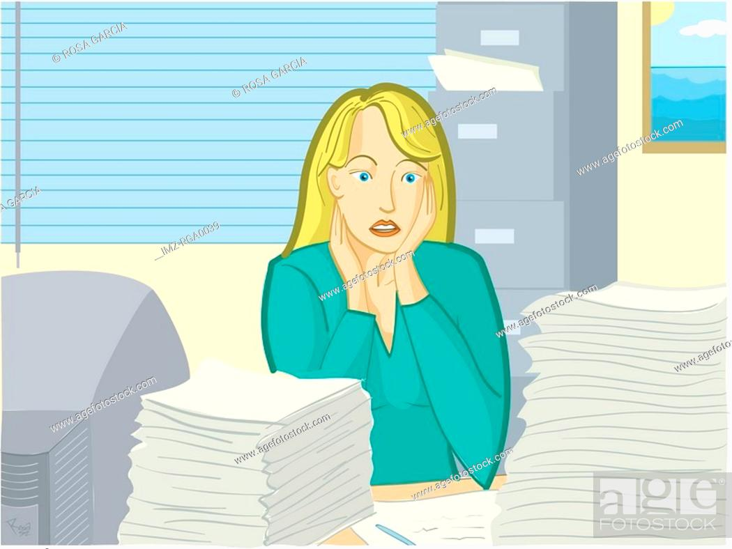 Stock Photo: A woman overwhelmed by her workload.