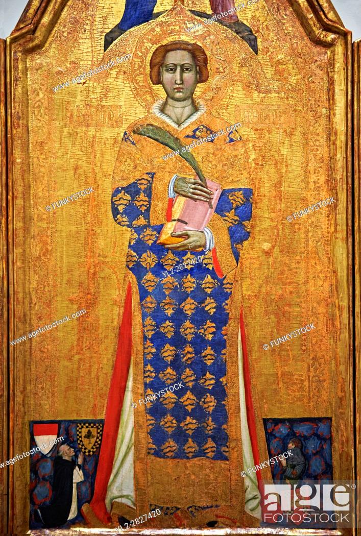 Stock Photo: Gothic painted Panel Altarpiece of Saint Vincent by Master of Estopanya. Tempera and gold leaf on wood. Circa 1350-1370. 199 x 255 x 10 cm.