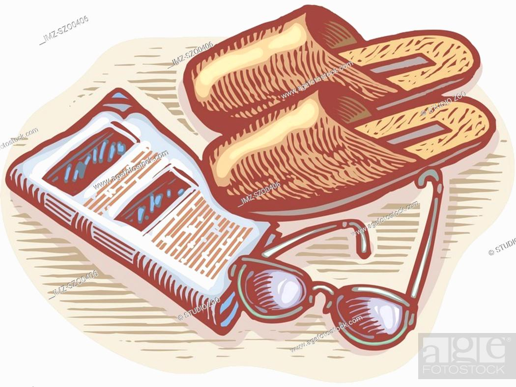 Stock Photo: An illustration of slippers, glasses, and newspaper.