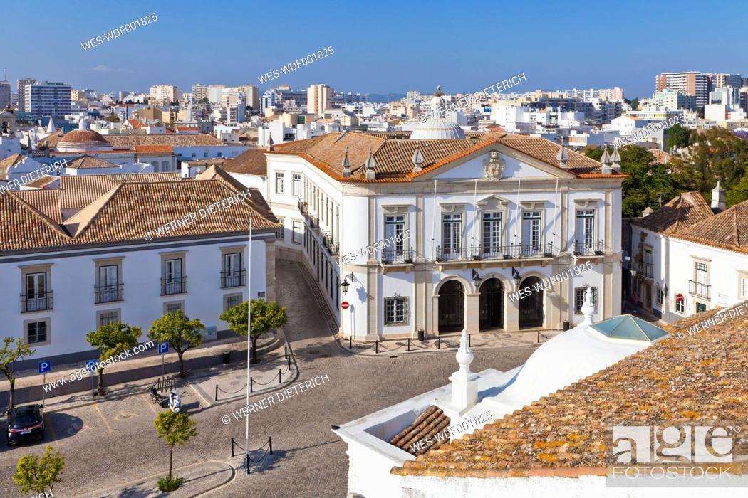Stock Photo: Portugal, Faro, View of Largo da Se.