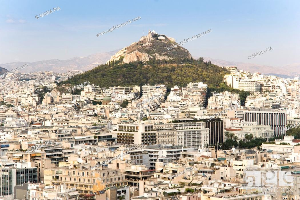Stock Photo: View from the Acropolis to the Lycabettus Mount, Athens, Greece.