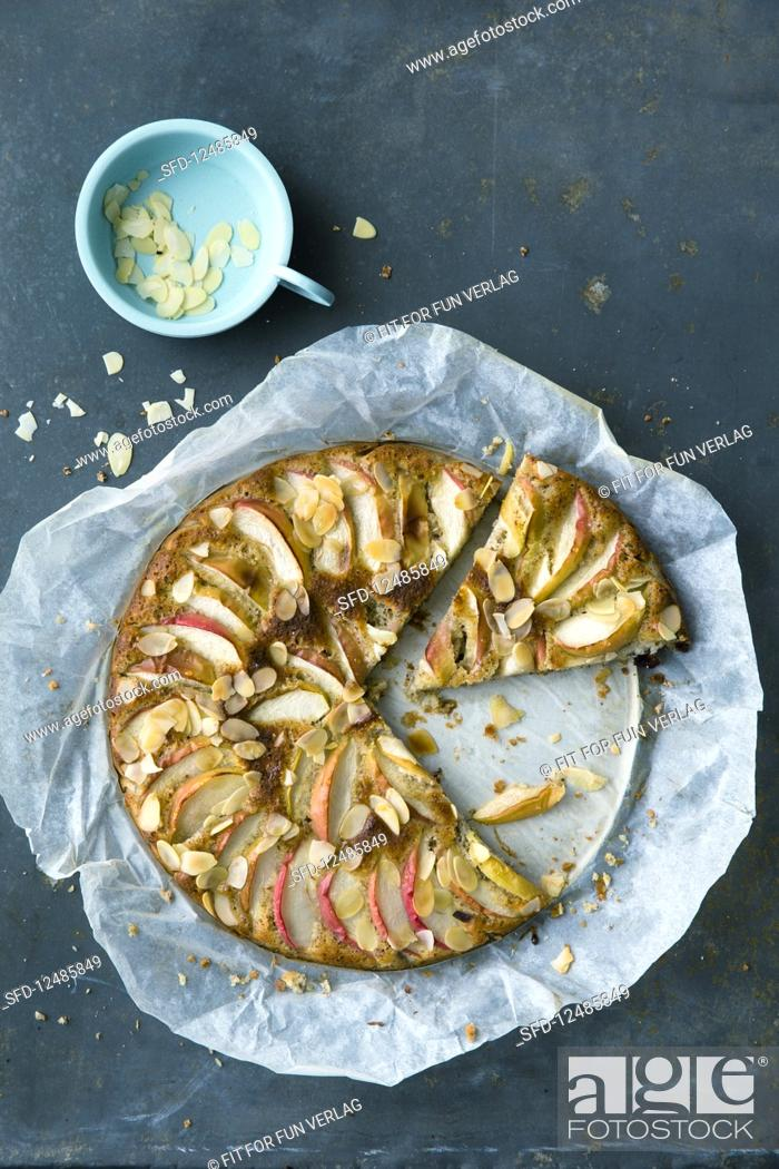 Stock Photo: Apple cake with flaked almonds.