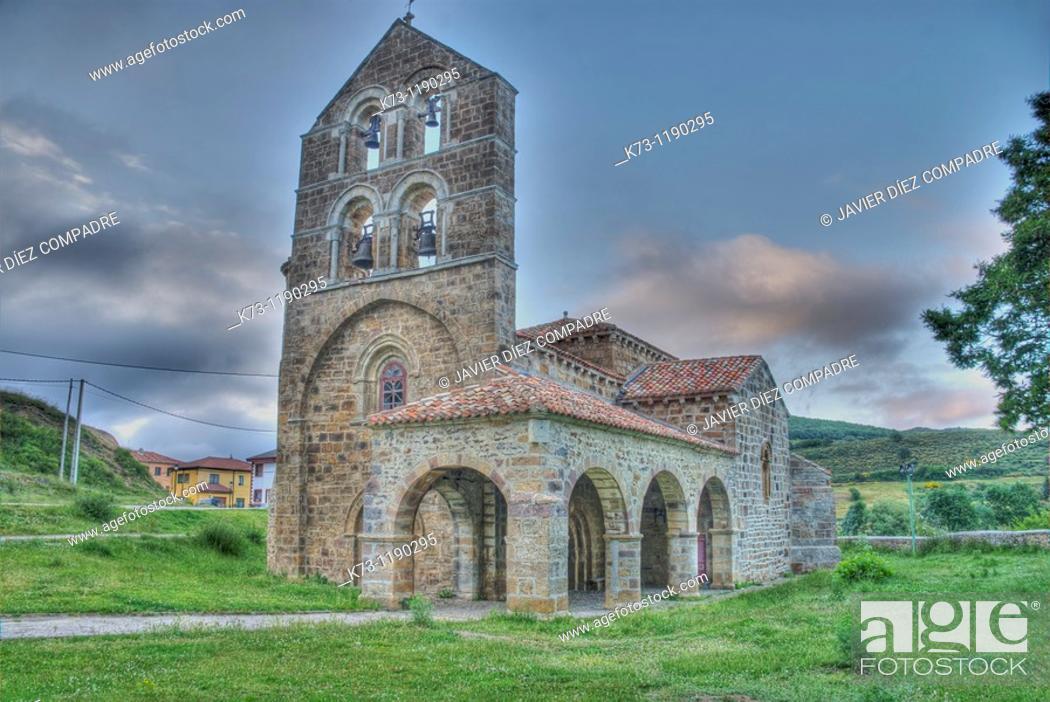 Stock Photo: Romanesque Church of San Salvador de Cantamuda (12th century). Fuentes Carrionas y Fuente Cobre-Montaña Palentina Natural Park.