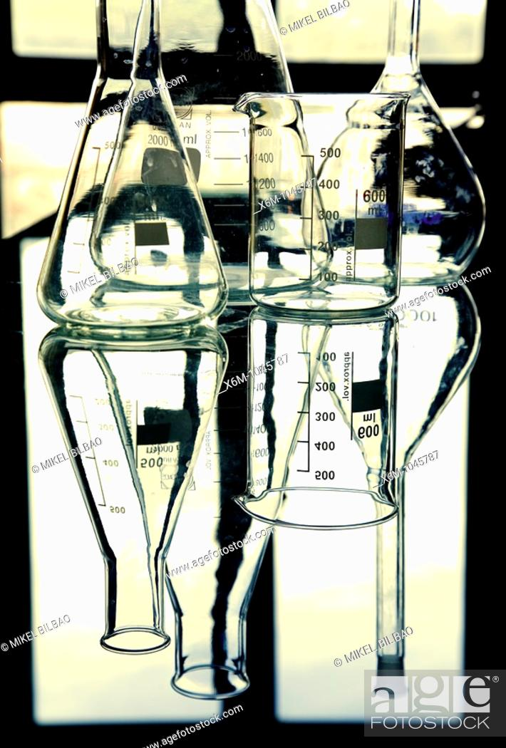 Stock Photo: vase and flask in laboratory.