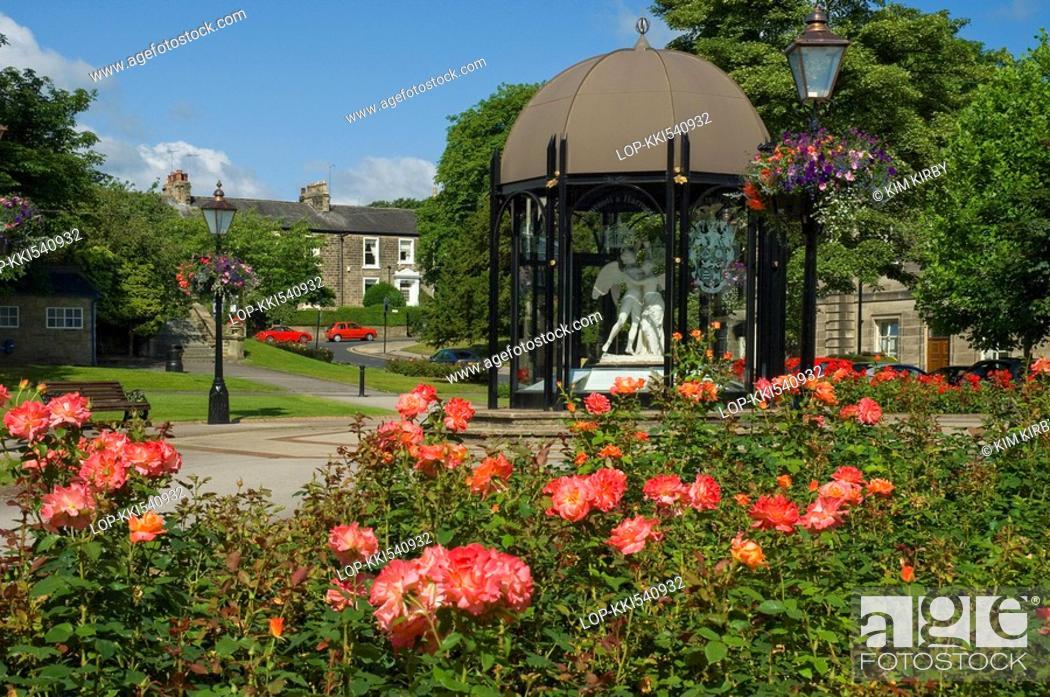 Stock Photo: England, North Yorkshire, Harrogate, The Festival Pavillion and flower gardens on Crescent Road in Harrogate.