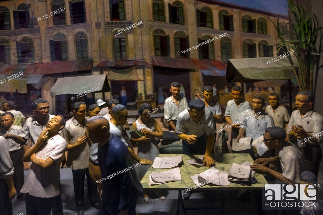 Stock Photo: Singapore, the 1962 Referendum. Diorama.