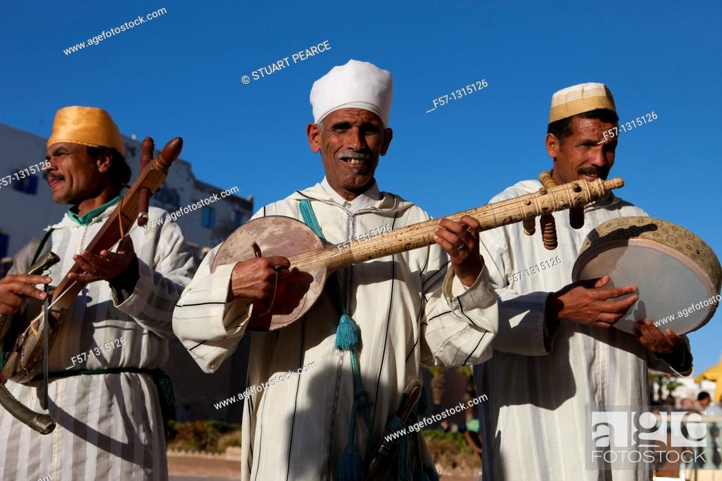 Stock Photo: Street Musicians in Essaouira, Morocco.