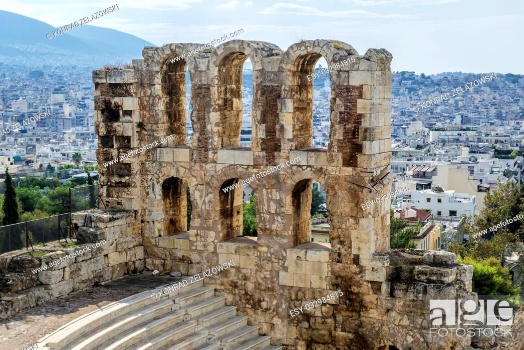 Stock Photo: Odeon of Herodes Atticus, part of ancient Acropolis of Athens city, Greece.