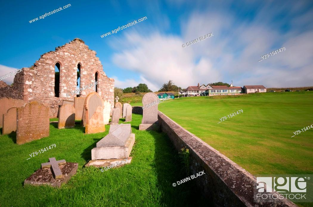 Stock Photo: St  Mary of the Storms Church Ruin above Craigeven Bay, Stonehaven, Aberdeenshire, Scotland This 13th century church was built over the original 7th century.
