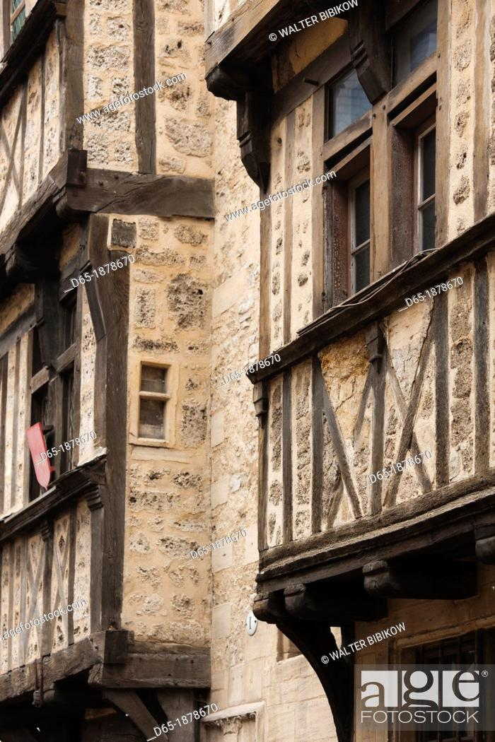 Stock Photo: France, Normandy Region, Calvados Department, Bayeux, rue St-Martin street, half-timbered house detail.