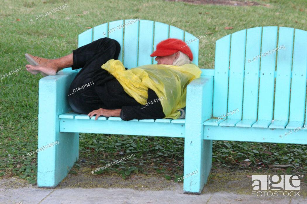 Stock Photo Senior Homeless Sleeping On Bech Lummus Park Miami Beach Florida