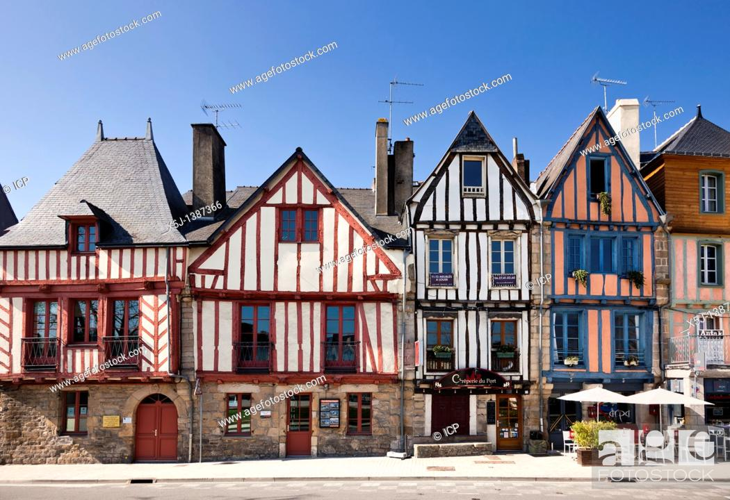 Stock Photo: Medieval shops and houses at Vannes, Morbihan, Brittany, France, Europe.
