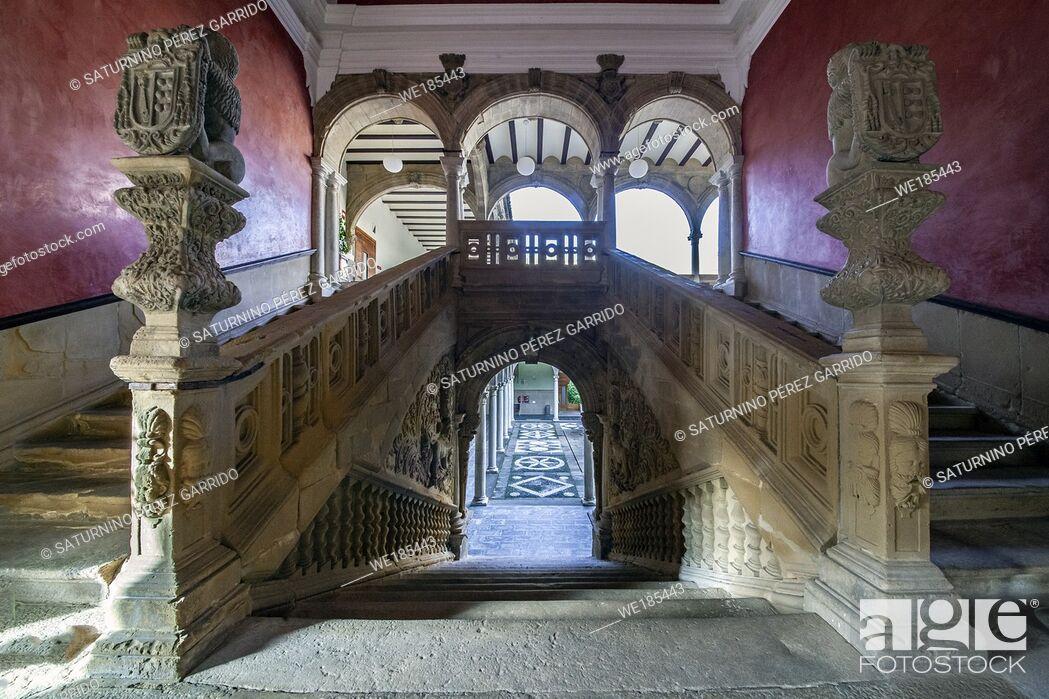 Stock Photo: Stairs of the Palace of Jabalquinto of Renaissance art.