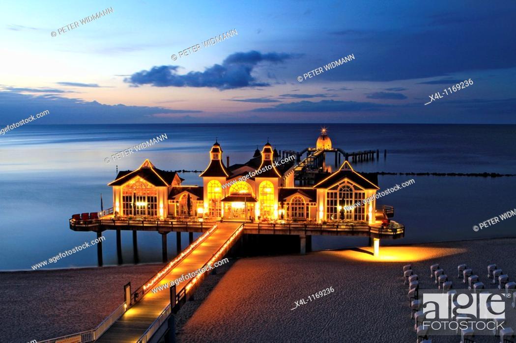 Stock Photo: Sellin Seebruecke at Night, Pier, Ruegen, Baltic Sea, Mecklenburg Western Pomerania, Germany, Europe.