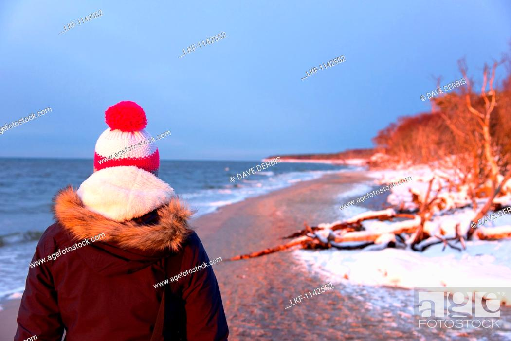 Stock Photo: Sunset, Beach, Stroll, Baltic Sea, Darss, National Park, Bodden, Germany.