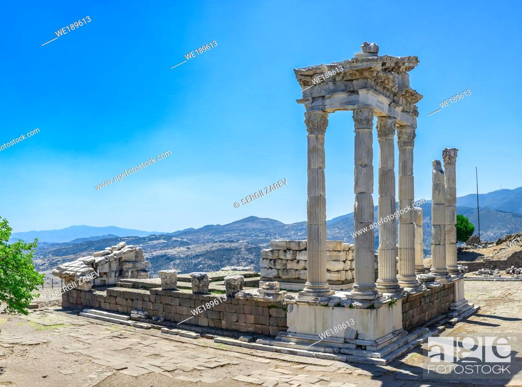 Stock Photo: Ruins of the Temple of Dionysos in the Ancient Greek city Pergamon, Turkey. Big size panoramic view on a sunny summer day.