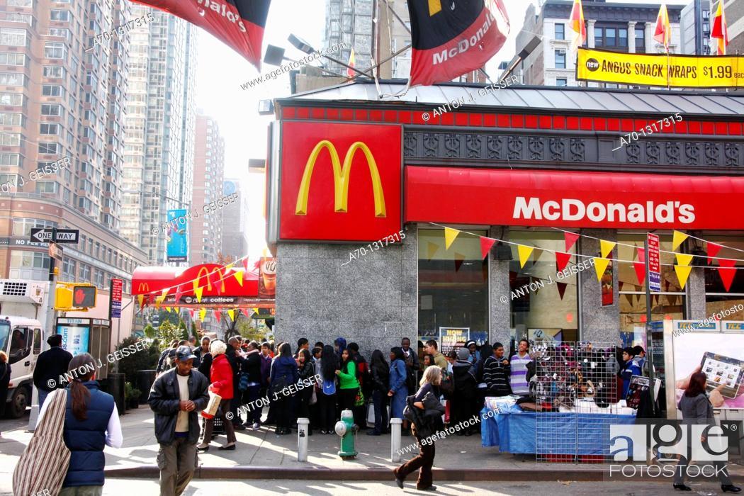 Stock Photo: McDonalds restaurant , manhattan , new york city.