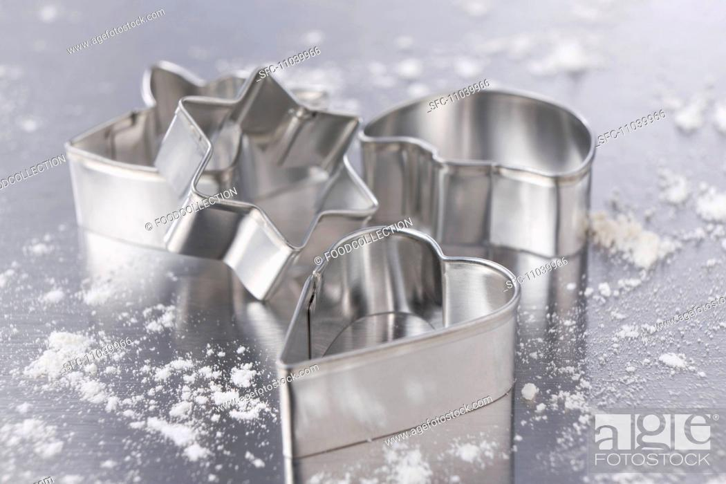 Stock Photo: Assorted cookie cutters for Christmas cookies.